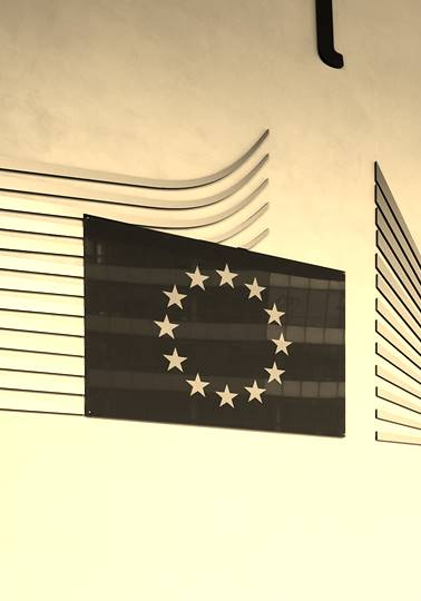 Wall with EU flag and logo at Berlaymont building