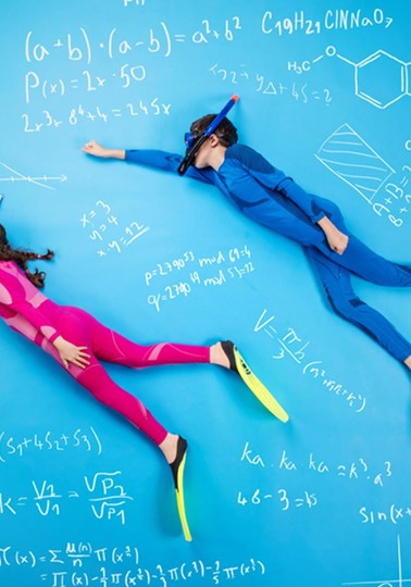 Children scuba diving in maths formula